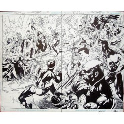 Arte Original Justice League 22 USA Página 22 y 23 (Doble Splash)