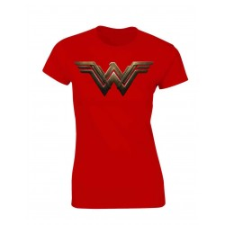 CAMISETA ROJA CHICA LOGO WONDER WOMAN BATMAN VS SUPERMAN DC