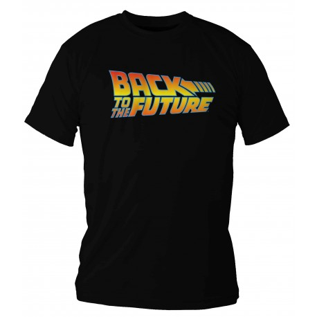 BACK TO THE FUTURE LOGO COLOR CAMISETA NEGRA CHICO TALLA XL REGRESO AL FUTURO
