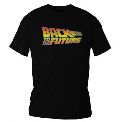 BACK TO THE FUTURE LOGO COLOR CAMISETA NEGRA CHICO TALLA L REGRESO AL FUTURO