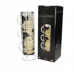 MAPA DE PONIENTE SET DE 3 TAZAS CERAMICA APILABLES GAME OF THRONES
