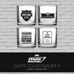 SET 1 4 VASOS FRASES STARK INDUSTRIES MARVEL