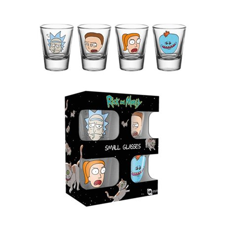 Rick y Morty Pack de 4 Vasos de Chupitos Faces