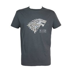 LOGO STARK ESCUDO METALICO CAMISETA GRIS VHS CHICO T-S GAME OF THRONES