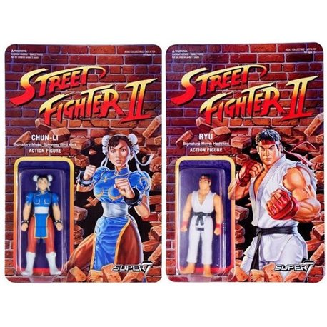 Street Fighter II Figuras ReAction 10 cm Wave 1: Ryu + Chun-Li